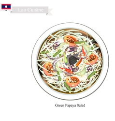 Green Papaya Salad A Popular Dish in Laos vector