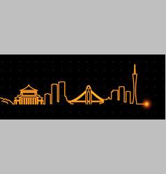 guangzhou light streak skyline vector image