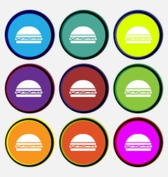 Hamburger icon sign Nine multi colored round vector