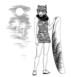 hand drawn portrait leopard with surfboat vector image