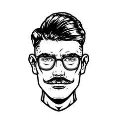 Handsome man head in glasses vector