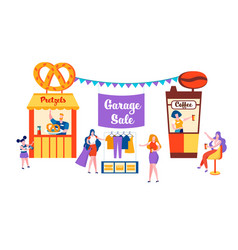 Happy family sell old things on garage sale event vector