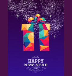 happy new year 2019 gift triangle hipster color vector image