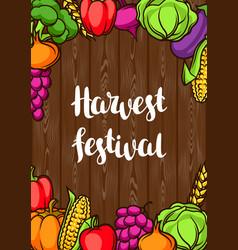 Harvest festival poster autumn vector