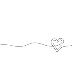 heart continuous one line drawing double heart on vector image