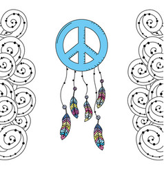 hippie emblem symbol with feathers and ornamental vector image