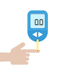 Home glucometer with hand vector