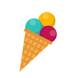 ice cream cone icon flat style isolated on white vector image