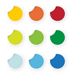 icon set colored stickers vector image