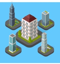 Isometric Building Set Isolated vector image
