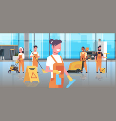 Janitors team cleaning service concept cleaners vector