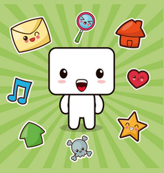 kawaii character social media icons vector image