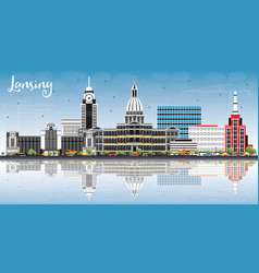 Lansing michigan city skyline with color vector