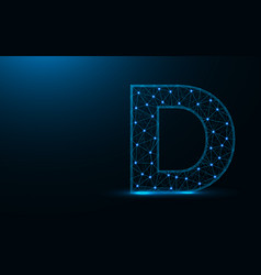 letter d low poly design alphabet abstract vector image