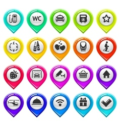 Map marker with icons-set three vector