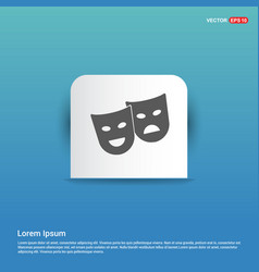 Mask icon - blue sticker button vector