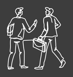 men in suit with briefcases meet each other doodle vector image