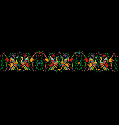 Mexican traditional textile embroidery style frame vector