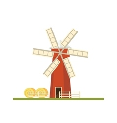 Mill isolated on white background Flat vector