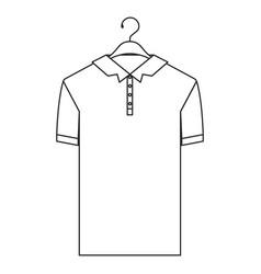 monochrome silhouette of polo shirt short sleeve vector image