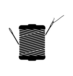 monochrome silhouette with thread spool and sewing vector image