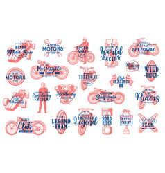 motorsport racing and biker club lettering icons vector image
