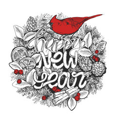 new year typographic poster wreath with lettering vector image