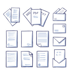 office pdf and doc txt files icons set vector image