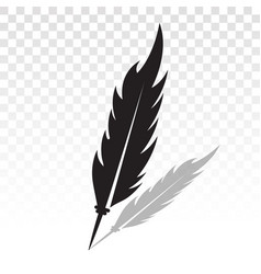 Old feathers quill pen with shadow - flat icon vector