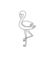one continuous line drawing beauty flamingo vector image