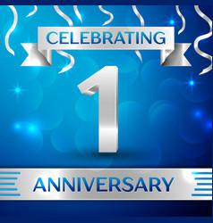 One years anniversary celebration design confetti vector