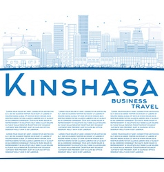 Outline Kinshasa Skyline with Blue Buildings vector image