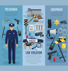 policeman with equipment law violation banner set vector image