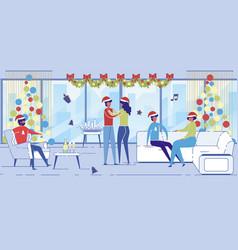 positive men and women in santa claus hats dancing vector image