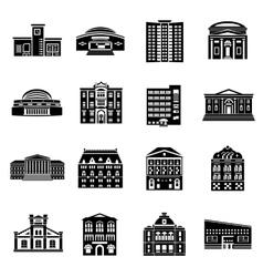 Public buildings icons set simple style vector image