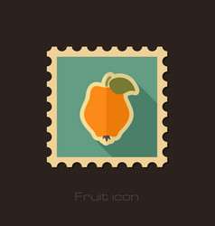 Quince flat stamp tropical fruit vector