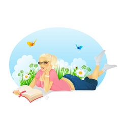 reading woman vector image