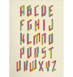 retro 3d impossible shapes type font set vector image