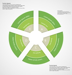 Round infographic consists of five green parts vector