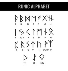 runic alphabet and its latin letter interpretation vector image