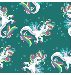 seamless pattern with beauty sea unicorns green vector image