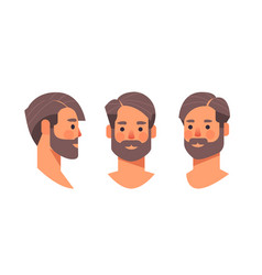 Set bearded man head avatar front side view male vector