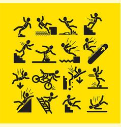 set black activity warning signs vector image