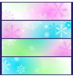 Set colorful gradient winter banners vector image