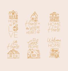 set house sign flat beige vector image