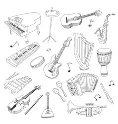 set music instruments - hand drawn vector image