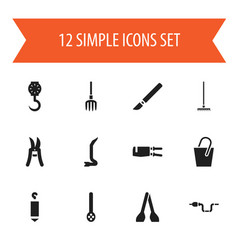 Set of 12 editable tools icons includes symbols vector