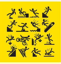 Set of black activity warning signs vector