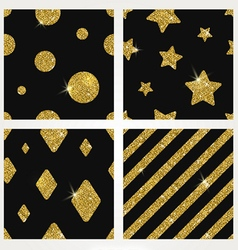 Set of glitter gold seamless background vector image