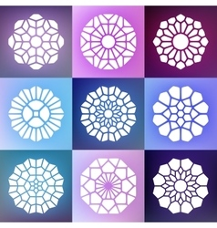 Set of Nine Mandala Decorative Ornaments vector image